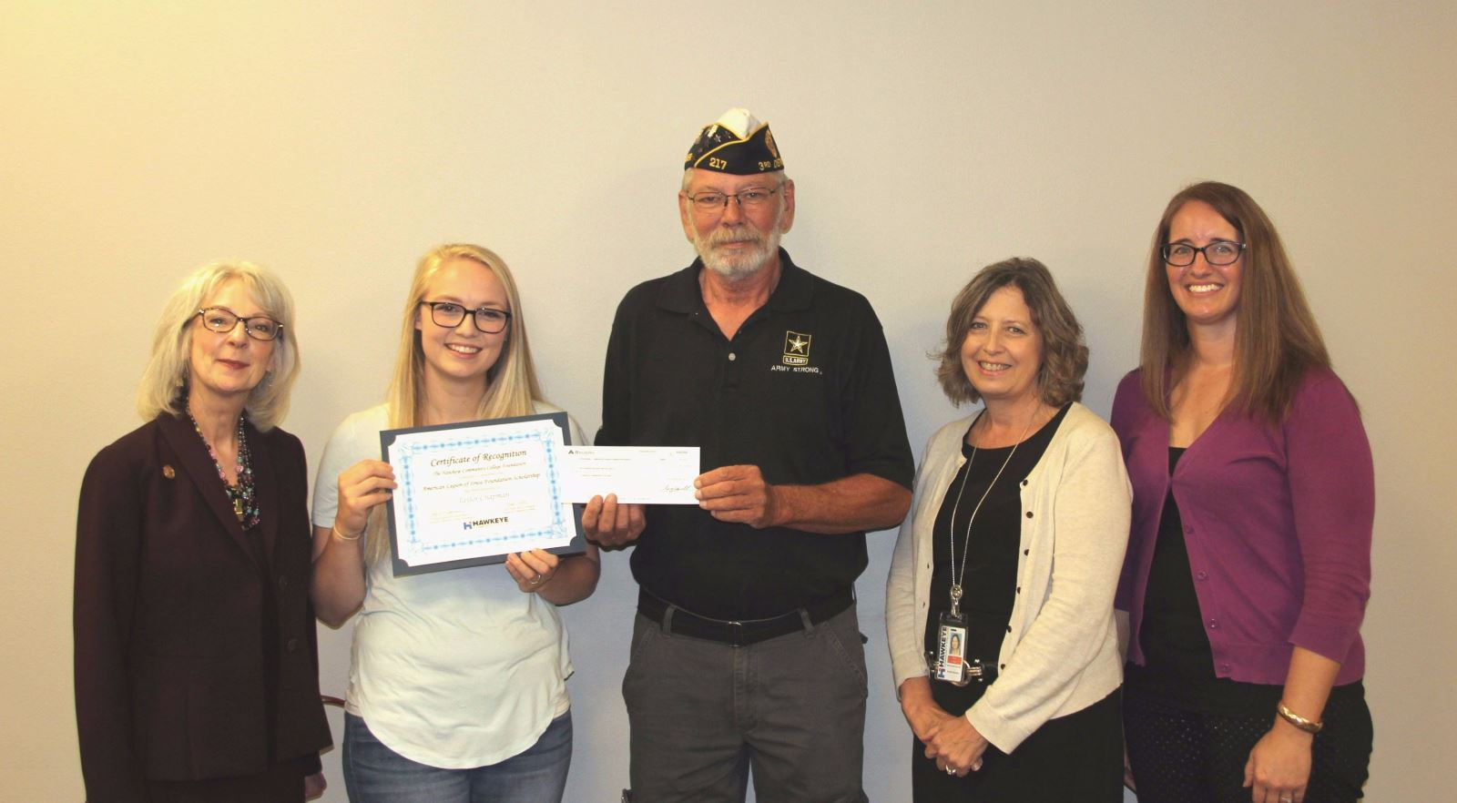 Hawkeye Community College Awards American Legion of Iowa Foundation Scholarships to Area Veterans