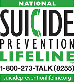 National Suicide Prevention Lifeline 1-800-273-TALK. Help is available for you or someone you care about, 24-7.