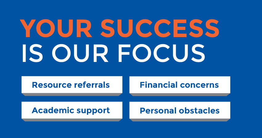 Your success is our focus. Resource referrals. Financial concerns. Academic support. Personal obstacles.